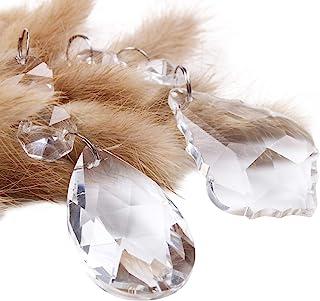 BIHRTC Pack of 12 Clear Crystal Chandelier Prisms Pendants Glass Pendants Beads (6pcs Teardrop + 6 pcs Maple Leaf Crystal Pendants)