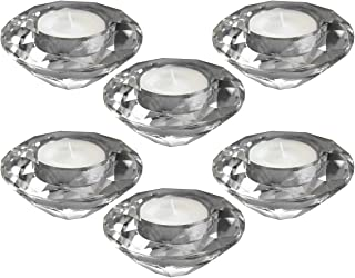 Amlong Crystal Diamond Tealight Candle Holder, Clear, Set of 6