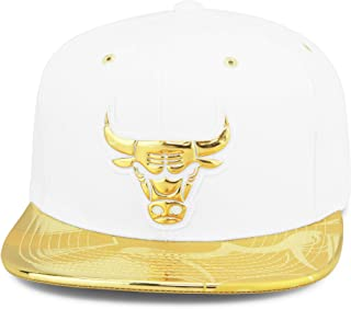 788daf3e Mitchell & Ness Chicago Bulls Snapback Hat Cap Mens White/Gold Foil (Patent  Leather