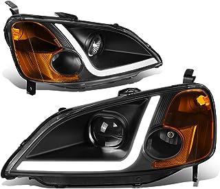 DNA MOTORING HL-LB-HC01-BK-AM Faros delanteros LED DRL para Honda Civic Coupe 01-03, color negro / ámbar