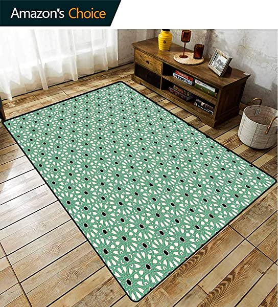 Bigdatastore Moroccan Natural Fiber Area Rug For Baby Nursery North Inspired Arabic Oriental Star Pattern With Complex Lines Easy Maintenance Area Rug Living Room Bedroom Carpet 2 X 6