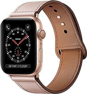 Qeei Lederen Bandje Compatible Met Apple Watch 40mm 38mm,Innovatief Verborgen Gespen Echt Lederen Horlogebanden Reserveban...