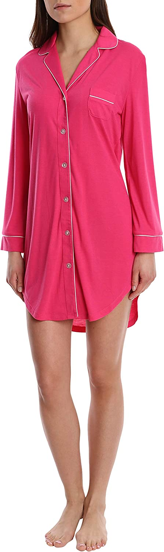 Blis Women's Long Sleeve Button Down Sleep Shirt  Ladies Lounge & Sleepwear Nightshirt