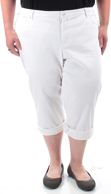 Style & Co. Women's Plus Size Tummy-Control Capri Jeans, 22W, Bright White