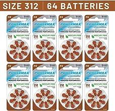 Powermax Size 312 Hearing Aid Batteries, Brown Tab, Zinc Air Mercury-Free, HearRite, 64 Count