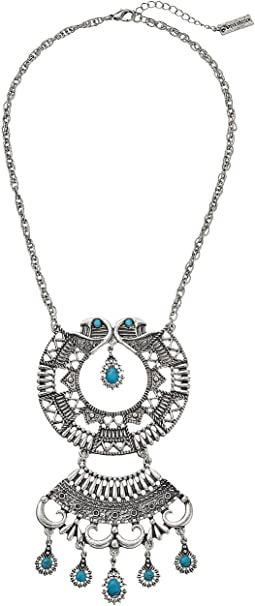 Steve Madden - Turquoise Stone Round Geo Discs Cable Chain Necklace