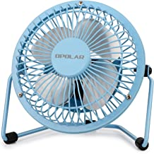 OPOLAR Mini USB Desk Fan ,USB Powered, Metal Design, Quiet Operation; 3.9 ft USB Cord, Handheld Size, Power Saving , Personal Table Fan for Home and Office-Blue
