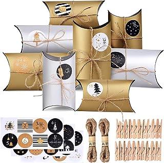 REYOK Calendario de Adviento, Caja de Almohada Caja de Regalo, 24 Cajas de Adviento con Adhesivos Digitales de Adviento, C...