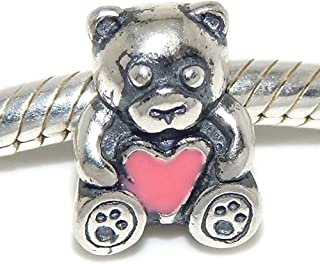 Solid 925 Sterling Silver Teddy Bear Holding a Pink Heart Charm Bead