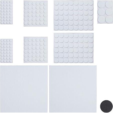 Relaxdays Pack 240 Piezas, Blanco Adhesivo para Muebles con 2 Hojas Papel Fieltro para Recortar
