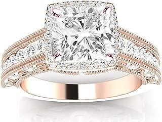 1.75 Carat 14K White Gold Vintage Halo Style Channel Set Round Brilliant Cushion Cut Diamond Engagement Ring Milgrain (I-J Color SI2 Clarity Center Stones)