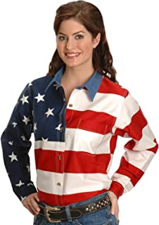 Roper Women's L/S Stars and Stripes Pieced Flag