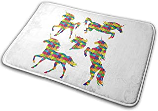 LNUO-2 Indoor Door Mat Unicorn Silhouettes Running Rearing Rug Floor Mats for High Traffic Areas, Easy Clean