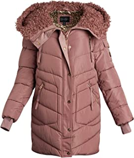 Jessica Simpson Women's Nylon Puffer Bubble Jacket with Fur Lined Oversized Hood