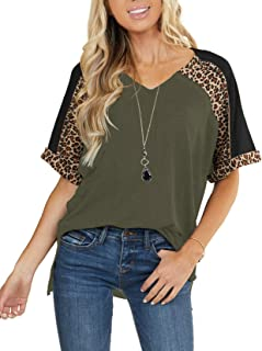 PRETTODAY Women's Leopard Print Short Sleeve T Shirts V Neck Color Block Tops Casual Loose Blouses