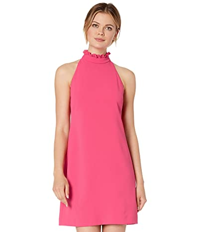 Vince Camuto Kors Crepe Shift Dress with High Ruffle Neck (Hot Pink) Women
