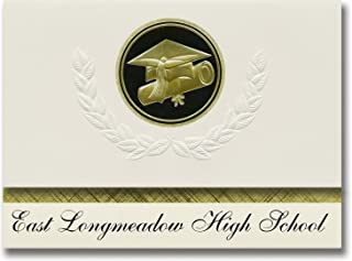 Signature Announcements East Longmeadow High School (East Longmeadow, MA) Graduation Announcements, Presidential Elite Pack 25 Cap & Diploma Seal. Black & Gold.