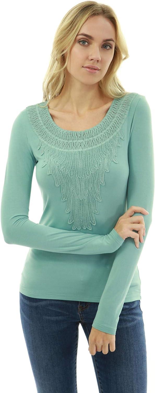 PattyBoutik Women Crewneck Crochet Lace Inset Blouse