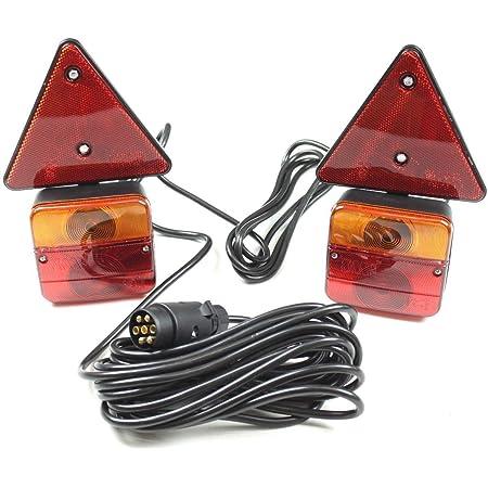 Adluminis Rückleuchten Set Verkabelt Mit Magnetfuß Und Rückstrahler Für Anhänger 7m Kabel 7 Poliger Stecker Anhängerbeleuchtung Für Straßenverkehr Zugelassen Auto
