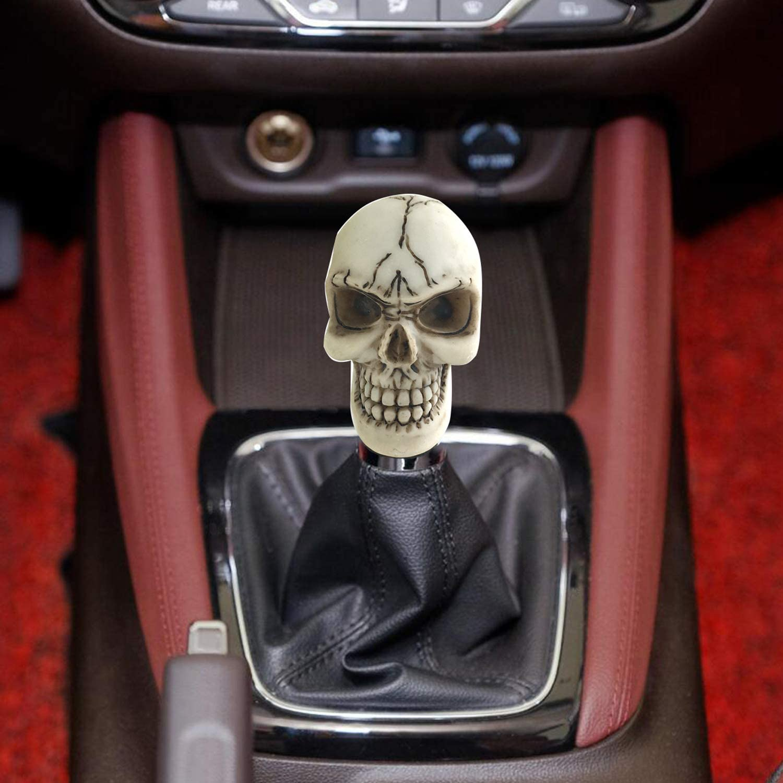 Knobs Automotive Beige Arenbel Skull Shift Knob Gear Stick Lever ...