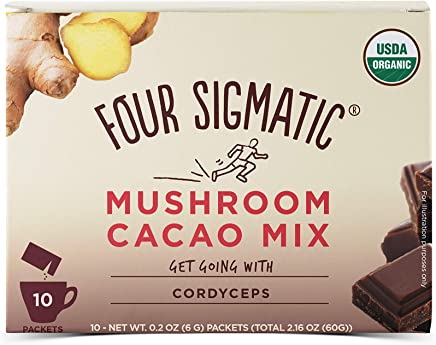 FOUR SIGMATIC Mushroom Hot Cacao Mix with Cordyceps (10 Packets), 6g
