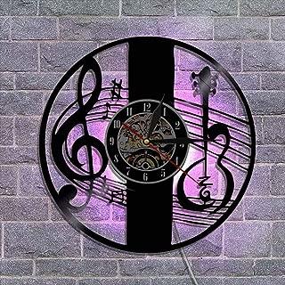 ビニールレコードの壁掛け時計、クリエイティブアート常夜灯壁時計サイレントクォーツムーブメント リモコン付き(様々なスタイル),B
