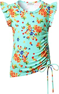 Girls Casual Long Sleeve Shirts Side Drawstring Tunic Blouse Round Neck Fall Tops