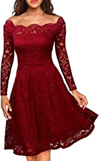 MIUSOL Damen Cocktailkleid Vintage 1950er Off Schulter Retro Spitzen Schwingen Pinup Rockabilly Kleid