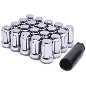 12mmx1.5 Thread WheelGuard 98-0397BK Acorn Spline Lug Nut Pack of 20 + Key Black Chrome Plating