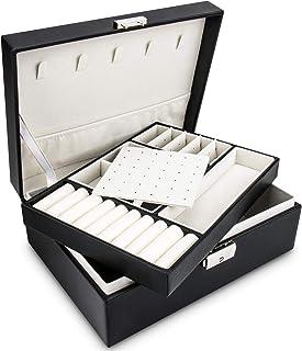 منظم صندوق مجوهرات للنساء من ويساي، حقيبة تخزين مجوهرات مع قفل ومفتاح للأقراط والعقود والخاتم - طبقتان، لون أسود