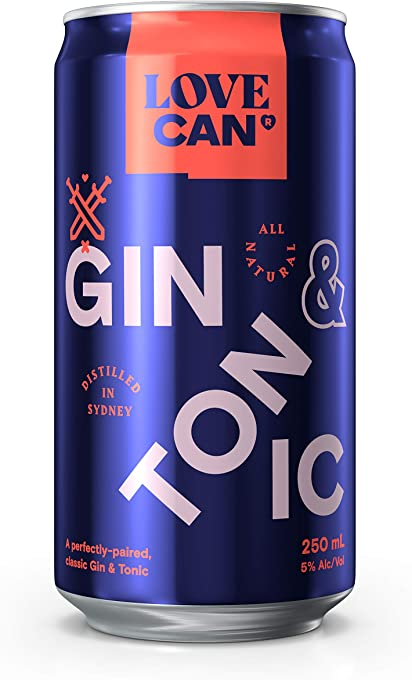 Love Can Gin & Tonic, 12 x 250ml cans. Made by Poor Toms Distillery and StrangeLove Soda Co
