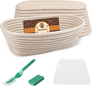 Sondiko Oval Bread Proofing Basket (2 Pack), Handmade Banneton Bread Proving Basket Brotform with Bread Lame, Dough Scrape...
