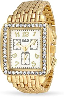 Crystal Rectangle Square Dial Face Metal Panther Link Bracelet Fashion Deco Style Watch Gold Stainless Steel