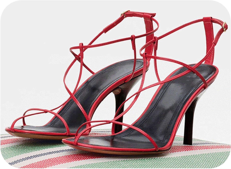 Summer Gladiator Sandals Women shoes Red 8CM High Heels Women Sandals Hollow shoes