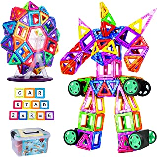 FlyCreat マグネットブロック 128ピース 磁気おもちゃ 子供 女の子 男の子 お孫さん マグネットおもちゃ 磁石ブロック 想像力と創造力を育てるオモチャ 立体パズル ゲーム モデルDIY 磁石積み木 誕生日 入園 ギフト 出産祝い ク...