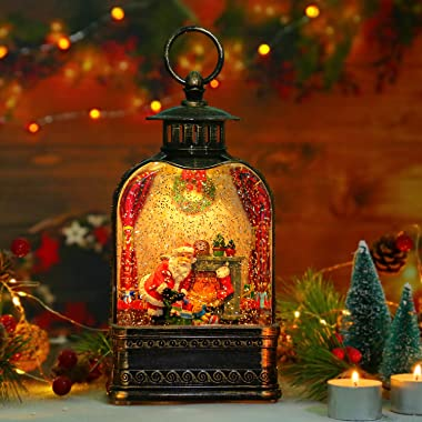 Christmas Snow Globe Lantern, Fireplace & Santa and His Gifts LED Musical Snow Water Globe Lantern, Snowflake Glittering