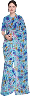 Ishin Poly Georgette Blue Printed Women's Saree