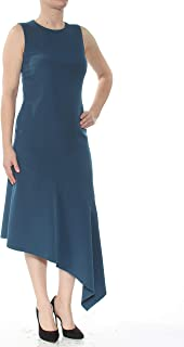 ANNE KLEIN Womens Teal Asymmetrical Sleeveless Below The Knee Sheath Wear To Work Dress AU Size:4