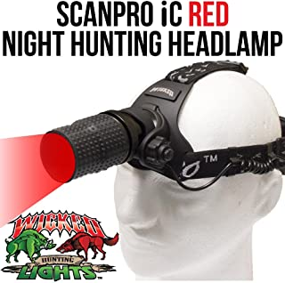 Wicked Lights ScanPro iC Night Hunting Headlamp with RED Intensity Control LED for coyote, predator, and hog hunting