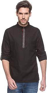 Shatranj Men's Indian Short Kurta Tunic Banded Collar Contrast Placket Solid Shirt