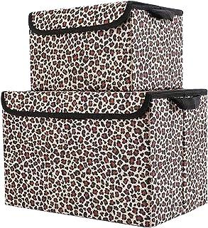 Parshall Lot de 2 boîtes de rangement pliables avec poignées pour ranger les jouets Motif léopard