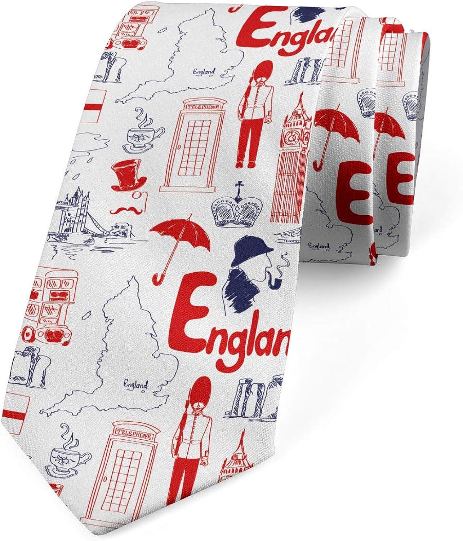 Ambesonne Necktie, British Culture Sketch, Dress Tie, 3.7