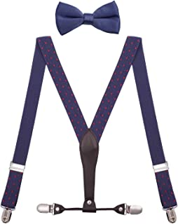 BODY STRENTH Mens Boys' Bow Tie and Suspenders Adjustable Elastic