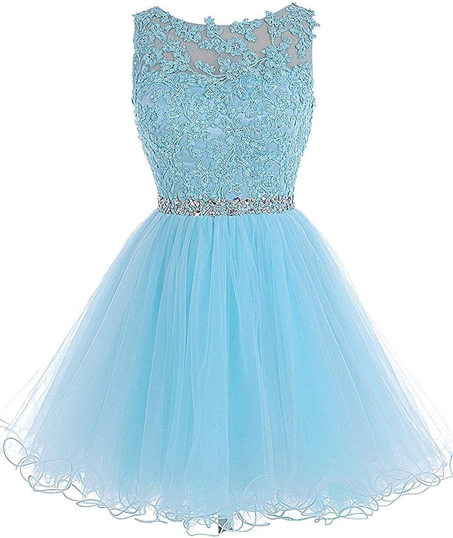 Alexzendra Short Women's Prom Dresses 2019 Applique Beads Scoop Neck Party Homcoming Dresses