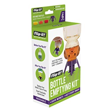 Flip-it! Bottle Emptying Kit - Deluxe - Flip Bottle Upside Down To Get Every Last Drop Out of Honey, Ketchup, Condiments and Beauty Products With Flip-It! | 6 pack - BPA Free - Dishwasher Safe