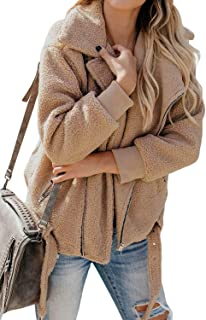 Womens Lapel Long Sleeve Faux Shearling Zip up Open Front Shaggy Coat with Pockets
