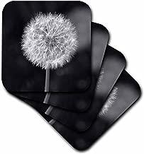 3dRose cst_192845_1 Black and White Dandelion Flower-Soft Coasters, Set of 4