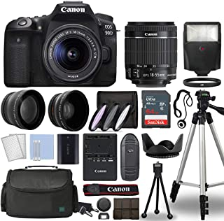 Canon EOS 90D Digital SLR Camera Body with Canon EF-S 18-55mm f/3.5-5.6 is STM Lens 3 Lens DSLR Kit Bundled with Complete Accessory Bundle + 64GB + Flash + Case/Bag & More - International Model