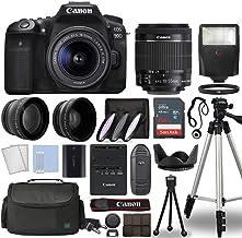 Canon EOS 90D Cuerpo de cámara réflex digital con Canon EF-S 0.709-2.165in f/3.5-5.6 es STM lente 3 lente DSLR kit incluido con paquete completo de accesorios + 64GB + flash + caso/bolsa y más - Modelo internacional