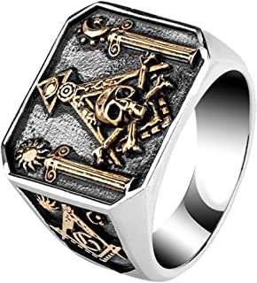 Mens Womens Titanium Steel Masonic Illuminati Ring Pillars & Skull & Crossbones Gold Tone Size 7-12
